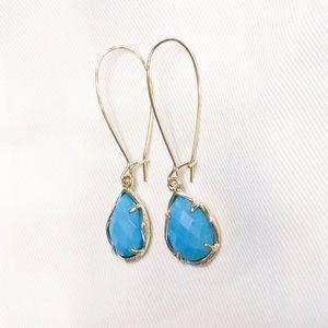 Kendra Scott Jewelry - EUC Kendra Scott Dee Teardrop Earrings Gold Blue